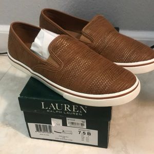 Ralph Lauren Tan Slip on Sneakers